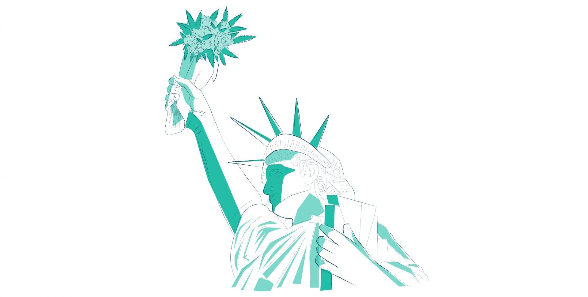 Estatua de la Libertad con Marihuana 2 - eeuu reforma cannabis ' Imagen por Ilona Szentivanyi. Todos los derechos reservados a El Planteo y Benzinga cannabis